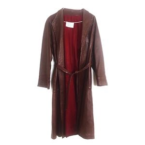Peter Caruso Long Trench Coat Tie Wrap Burgundy